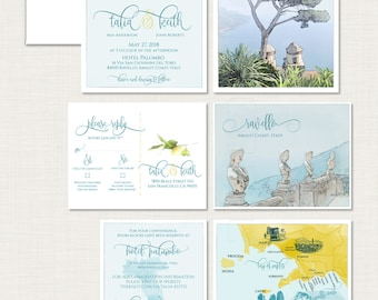 Ravello Destination wedding invitation Ravello Amalfi Coast Italy Wedding Invitation bilingual Illustrated watercolor Deposit Payment
