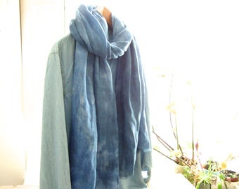 Casual chic scarf, washed linen natural denim indigo, multiple loops, long linen wrap, tie dye summer wrap, boyfriend, husband, father gift