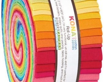 Kona Cotton New Bright Palette JELLY ROLL from Robert Kaufman - 41 2.5 Inch pieces (2.8 yards) - RU-231-41