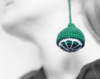 Lime earrings, crochet, green