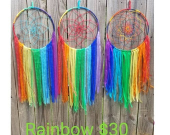 Rainbow Dream Catcher - Large 12 in ring