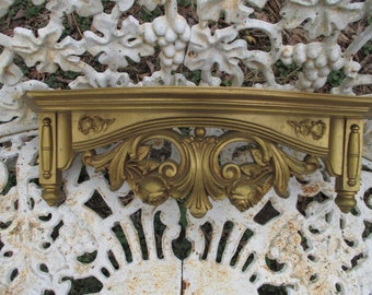 Reduced Vtg 1977 Ornate Gold ROSES Flowers SYROCO Wall Display SHELF, Hollywood Regency