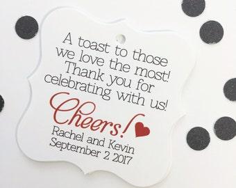 Wedding Favour Tags, Custom Favor Tags, Cheers Wedding Favor Tags  (FS-072)