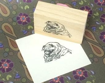 Hand carved rubber stamp - sea lion design.