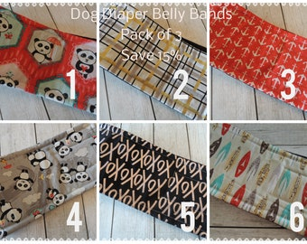 3 Pack Sale, Male Dog Diaper Belly Bands, Save 15%, Personalized , FAST Shipping, Personalized