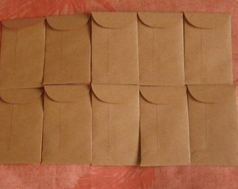 "10 Brown Coin Envelopes - 2 1/8"" x 3 5/8"", Seed Envelopes, Confetti Envelopes, Wedding Favor Envelopes, Mini Brown Envelopes"