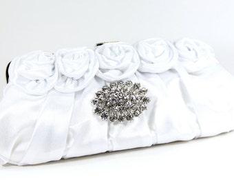 White Satin Bridal Clutch - White Satin with Stunning Swarovski Crystal Accent - Bridal Clutch - Wedding Purse - White Satin Bridal Bag