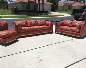 Vintage Ming-Style Three Piece Living Room Sofa Set - Schweiger- Asian Sofa