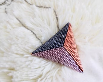Mother's day, Gift for mom, Puffy Triangle Pendant, Statement jewelry, Geometric beadwork, Minimal design, Gifts for her, Spring accessory