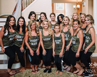 Two Sided The Hunt is Over Camo Bridal Party Tanks Army Tanks Military Bride Tanks Bachelorette Tanks Wedding Day Getting Ready Tanks
