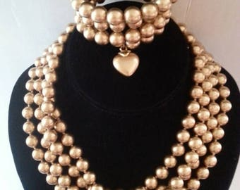 ON SALE Vintage Long Necklace Bracelet Set * Flapper Style Necklace * Vintage Demi Parure * Old Hollywood Glamour Style Vintage Jewelry