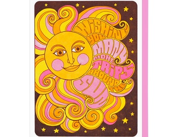 Many More Trips Around The Sun Birthday Letterpress Card