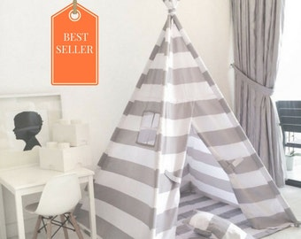Kids Play Tent Teepee Handmade in Grey/Gray and White Stripe Designer Cotton Fabric. Comes With Padded Mat Base AND Two Pillows!