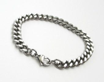 Thick stainless steel chain bracelet, men's steel bracelet, women's steel bracelet, 7mm curb chain