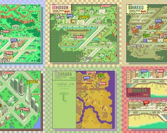 Earthbound/Mother 2 Town Map Collection v2 Cross Stitch Patterns