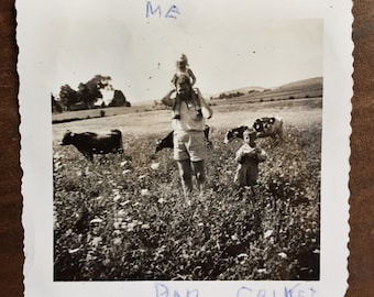Original Vintage Photograph Walking with the Cows