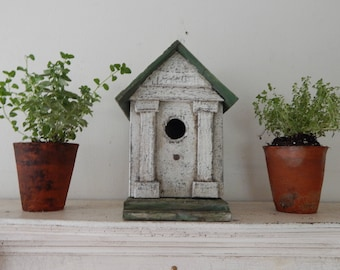 Handcrafted Birdhouse / vintage style garden /painted birdhouse, / farmhouse birdhouse garden birdhouse/ unique birdhouse/folk art birdhouse