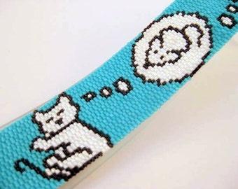 Cat Peyote Bracelet / Beaded Bracelet in Turquoise, Black and White / Cat's Dreams / Seed bead Bracelet / Peyote Bracelet / Beadwork