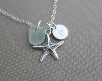 Personalized Charm Necklace with Sterling Silver Starfish Sea Glass and Initial Charm Made to Order Wedding Bridesmaid Gift, Seafoam, Mint