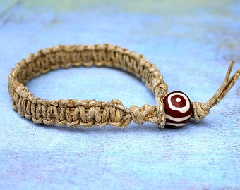 Natural Hemp Flat Bracelet With Bone Bead