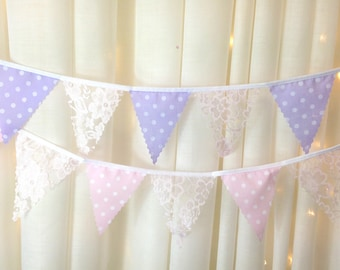 Mini Bunting in pearlescent pink lace and pink or lilac with white pea dot 4 inch flags from 1 metre perfect for weddings & baby showers