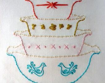 Vintage Bowls Embroidery Pattern. Vignette Series.