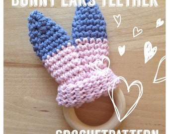 Crochet Bunny Ears, Crochetpattern, Teether, Crochetbunny, Baby, Babygift, Babyshower, Babytoy, Natural, Crochet, Tutorial, Easter