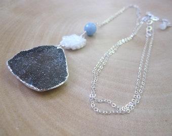 Gem Stacker Necklace, Multi Stone Necklace, Gray Druzy Pendant, Multigemstone, Druzy Necklace, Long Sterling Silver, Boho Chic
