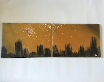 Golden Sky City Painting