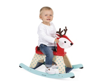 Personalised Rocking Fawn, Toddlers Rocking toy, Baby fawn rocking toy, Rocking animal, Baby deer rocker, Baby forest rocking fawn