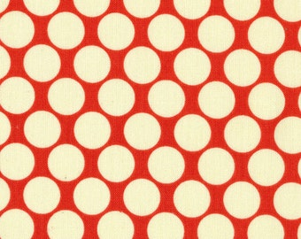 Amy Butler Full Moon Polka Dot Fabric - Cherry - sold by the 1/2 yard