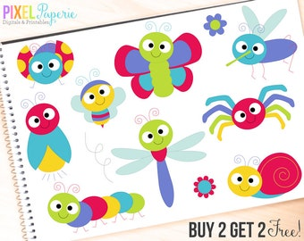bugs clipart insects clip art ladybug lady bug bee butterfly - Cute Bugs Clipart - BUY 2 GET 2 FREE