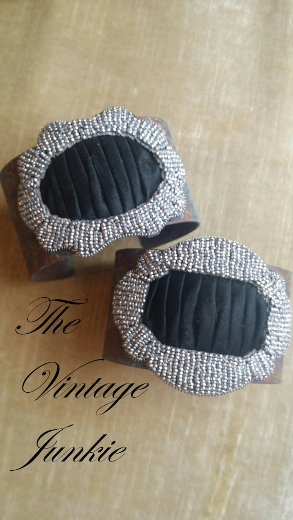 The Vintage Junkie...Etched Brass Cuff with Repurposed Rhinestone Embellishment