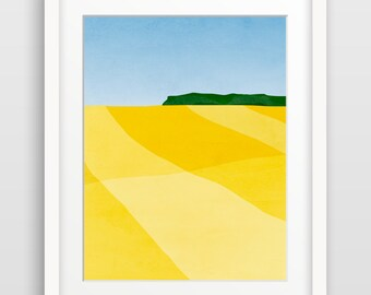 Modern Art Print, Abstract Wall Art, Abstract Landscape, Mid Century Modern Art, Art Print Abstract, Minimalist Art, Yellow Wall Decor