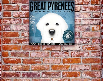 Great Pyrenees brewing Company dog beer graphic illustration on gallery wrapped canvas by Stephen Fowler
