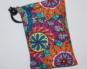 "Pipe Pouch, Colorful Mandala, Pipe Case, Pipe Bag, Padded Pipe Pouch, Hippie, Hippy, 420, Smoking Accessories, Stoner Gift - 5"" DRAWSTRING"