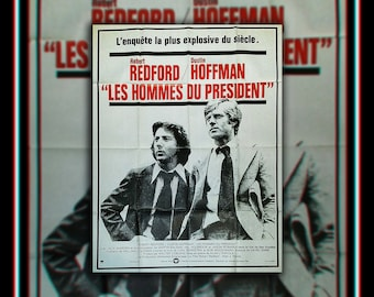 ALL The PRESIDENT'S MEN (1976) Redford Hoffman Very Rare 4 x 6 ft french Grande Fold Giant Movie Poster Original Vintage Collectible