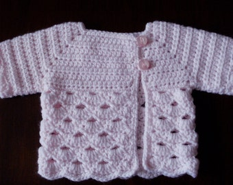 Crocheted Baby Girl's Sweater Pink Pastel Pink Baby Sweater