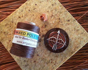 Pine Needle BASKET KIT - Southwestern Theme - Copper and Silver Bow & Arrow Center, Natural Pine Needles, Waxed Thread