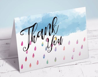Watercolor Rain Shower Thank You Card | Matching Thank You Card | Thank You Card | Instant Download Thank You Card | Printable Thank You