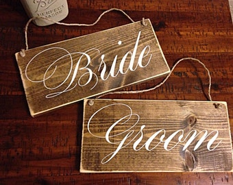 Bride & Groom   wedding decor   Bride and Groom signs   wedding chair signs   wedding signs   rustic wedding decor