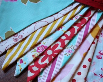 Wedding Bunting, Carnival Theme Fabric Flag Banner.  Designer's Choice Featuring Yellow, Aqua, Red, Pink...