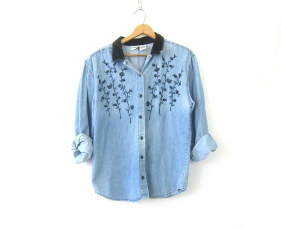 Vintage 90s Jean Shirt Light Blue Cotton Button Up Shirt Washed Out Denim Shirt Velvet Trim  Hipster Flower Embroidery Shirt Womens XL