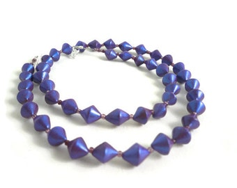 Beaded violet necklace bi cone polymer clay metallic beads