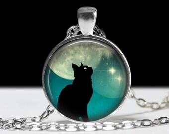 Cat Necklace Cat Jewelry Necklace Wearable Art Pendant Charm Cat Pendant Black Cat Charm Pink