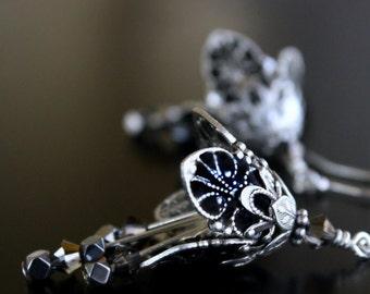 Silver Dangle Earrings, Black Flower, Dangle Drop Earrings, Romantic Gift, Anniversary Gift, Wife Gift, Girlfriend Gift, Valentines Day Gift