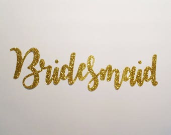 DIY Iron on Glitter Bridesmaid Heat Transfer Vinyl Decals/Stickers Make Your Own Robes T-Shirts Tanks