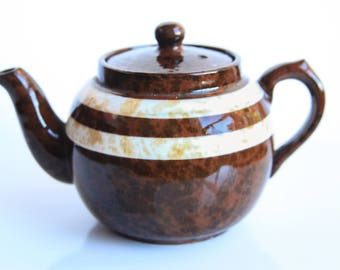 Vintage Mini Sadler Made In England Brown Betty Teapot ~ English Tea ~ Country Cottage Kitchen  ~ Rustic Farmhouse Decor