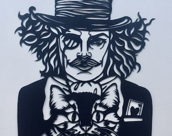 Mad Hatter papercutting template (download) commercial use