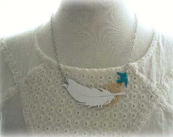 ON SALE Silver Mirror Feather Necklace with Blue Bird